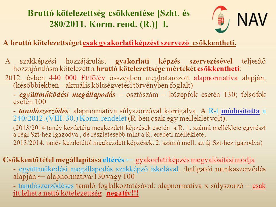 Bruttó kötelezettség csökkentése [Szht. és 280/2011. Korm. rend. (R